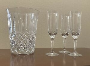 Crystal Champagne Bucket And 3 Flutes—Toscany Galleria
