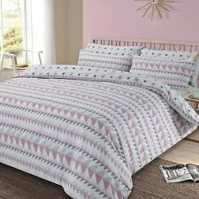 REWIND GEOMETRIC KING DUVET COVER AND PILLOWCASE SET BLUSH PINK AND GREY NEW