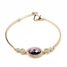 Elegant 18ct Rose Gold finish Amethyst CZ Bracelet quality UK jeweller gift box