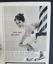 1959 NEET shaving hair remover Barbershop pole vintage ad