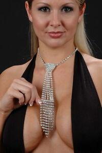 SEXY Rhinestone Crystal Necktie Choker Diamante Jewellery Clubwear Necklace #03