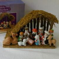 Miracles Of Bethlehem Nativity Manger Set In Box 1991 Christmas Vintage Complete