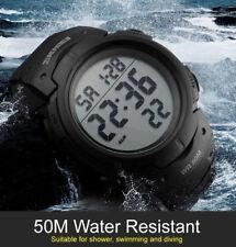 SKMEI Waterproof Men's LED Silicone Digital Stopwatch Date Boy Wrist Watch Black