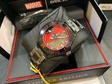 Invicta UNIQUE Marvel Deadpool 38mm Case Automatic Movt Black, SS Bracelet Watch