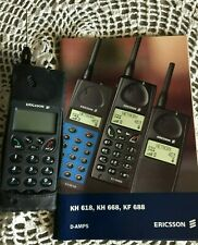 Vintage Ericsson Cell Phone w/Leather Case & Manual Non-working for Parts