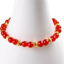 999 New Pure 24K Yellow Gold 0.1g*12pcs 4mm Lucky Beads &Red Agate Bead Bracelet
