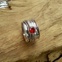 Garnet Stone Solid 925 Sterling Silver Spinner  Meditation Ring Size K44