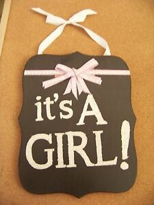 """it's A GIRL! composite wood sign 9.4"""" x 11.9""""  black white pink new baby message"""