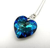 925 Silver Swarovski Elements Crystal Heart Pendant Necklace Bermuda Blue UK