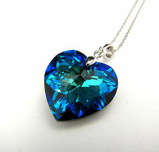 Sterling Silver Swarovski Elements Crystal Heart Pendant Necklace Bermuda Blue