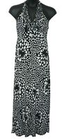 New Directions Black Ivory Ruffle Neck Halter Maxi Dress Small S NWT $65