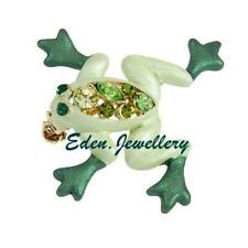 RUCINNI Super Cute Brooch Petite FROG Shape Genuine Crystals Imported from USA