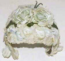 New listing Vintage 50s Blue White Floral Covered Half Hat
