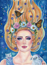 New ListingFalling to wonderland watercolor and acrylic original 10x14in By Renee L Lavoie