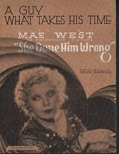 A Guy What Takes His Time 1933 Mae West in She Done Him Wrong Sheet Music
