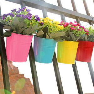 12x Garden Metal Flower Pots Plant Herb Wall Hanging Tin Basket Bucket Planter