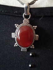 VINTAGE SILVER 925 PENDANT NECKLACE CARNELIAN CABOCHON STONE BRAIDED CHAIN