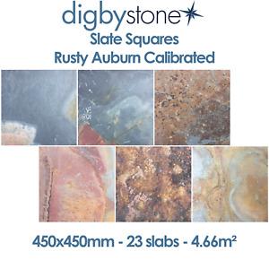 Slate Squares - Rusty Auburn Calibrated 450x450mm - 23 slabs - 4.66m²
