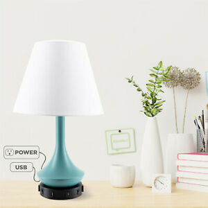 Modern Teal Desk Lamp with 2 Power Outlets and 2 USB