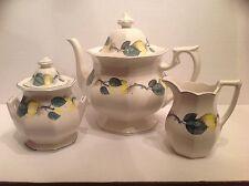 Rare Adams China VERMONT Teapot Covered Sugar Bowl & Creamer Green Trim England