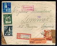 1941 Jaroslau Poland Germany GG Dual Censored cover to Lommis Switzerland