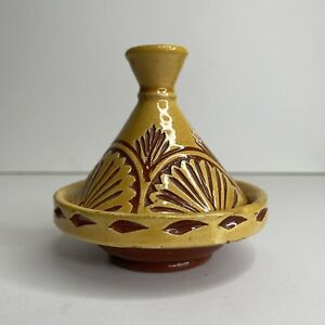 """4"""" TANGINE MOROCCAN Red Yellow POTTERY DECORATIVE CERAMIC HAND PAINTED Vintage"""
