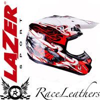 LAZER x 7 SKELTER Rojo Blanco Negro Moto Todoterreno Moto-X Casco MX