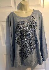 New Style & Co. Women's Sweater Blue Size 1X Plus Pullover Metallic Print