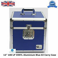 "1 X NEO Aluminium Blue DJ Flight Case to Store 100 Vinyl LP 12"" Records STRONG"