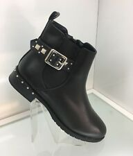 LADIES WOMENS FAUX LEATHER STYLE BLACK CASUAL ANKLE RIDER BOOTS LOW HEEL SIZE 5