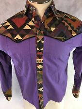 Vintage Purple Aztec Western Snap Shirt Cowboy Size Medium Geometric Pattern M