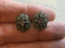 Vintage Marcasite Earrings Sterling Cluster Steampunk Flower Shield .75""
