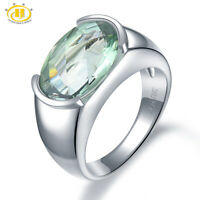 925 Sterling Silver Ring Natural Green Amethyst Wedding Women Jewelry New6 7 8 9