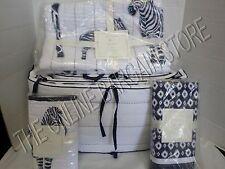 Pottery Barn Kids Prescott Baby Nursery Bumper Quilt Bed Skirt Sham 4 PCS Zebra