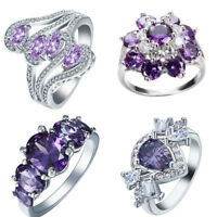 925 silver Filled  Amethyst Crystal Rings Wedding Women Jewelry Gifts Size 6-10