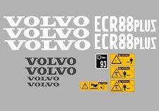 Volvo Ecr88 Plus Aufkleber Bagger Komplettset mit Sicherheit Warnung
