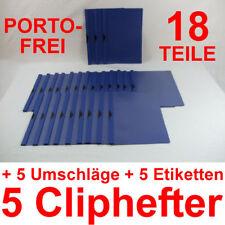 5 Cliphefter Bewerbungsmappen + Umschläge + Eti - BLAU - 18 Teile Set Bewerbung