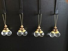 SET of 4 FAUX CRYSTAL/GOLD/COPPER COLOUR CHRISTMAS TREE ORNAMENTS