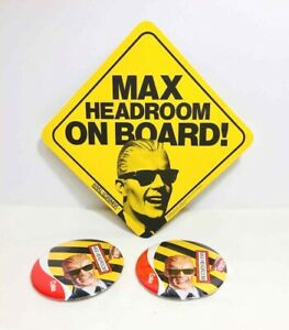 Vintage MAX HEADROOM Coca-Cola Promo BUTTONS •2• + ON BOARD! Advertising CARD