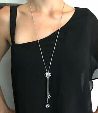 Silver Four Leaf Clover Long Sweater Chain  Crystal Necklace Pendant Charm