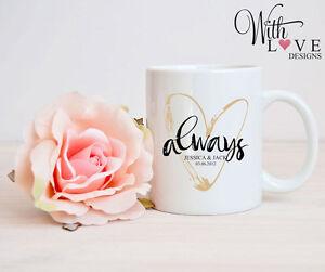 ALWAYS LOVE MUG CUP PERSONALISED WEDDING ANNIVERSARY VALENTINES DAY PRESENT GIFT
