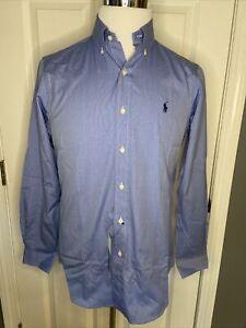 Ralph Lauren Blue Long Sleeve Pima Cotton Shirt Navy Blue Pony Size Small NWT