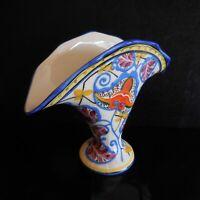 Coupe vase faïence art nouveau cubisme peint main BRASSAH Tchécoslovaquie N3738