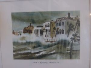Virginia Fouche Bolton Watercolor Print Signed Vintage Winds on High Battery