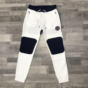 Polo Sport Ralph Lauren Men's Double Knit White Navy Jogger Pants Size XS NEW