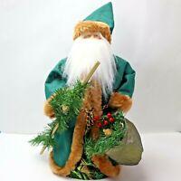 Vintage Santa Claus Green Coat  Father Christmas Holiday Decor Old Saint Nick
