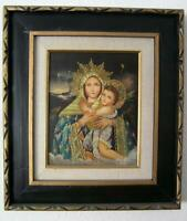 Original Oil Painting of Madonna with Child Baby Jesus Virgin Mary Framed signed