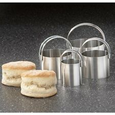 RSVP SET OF 4 ROUND DEEP 18/10 Stainless Steel Nesting Biscuit Cookie Cutters