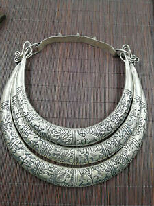 China Old Tibet Silver Carve necklace Neck ornament  Collar ring
