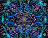 Ultraviolet Neon blacklight Trippy Psychedelic Wall hanging UV tapestry Psy art